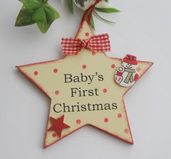 Baby's first Christmas Large Star Tag or Tree Decoration