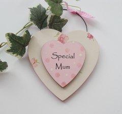 Special mum double wooden heart Plaque