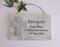 First Holy Communion Wooden Plaque Pink or Blue