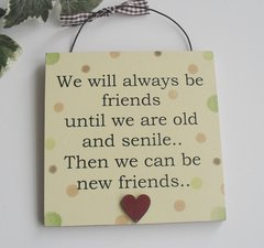 We Will Always Be Friends funny Wooden Plaque