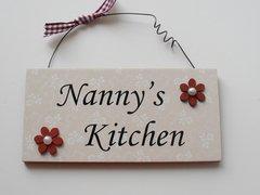 Nanny's kitchen wooden door hanger
