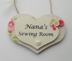 Nana's Sewing Room Layered Wooden Plaque