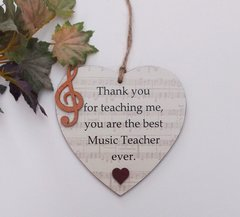 Special Music Teacher Wooden Heart Plaque