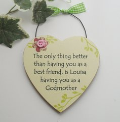 Personalised Godmother gift wooden plaque