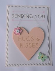 Sending you Hugs and kisses Card with Detachable wooden heart