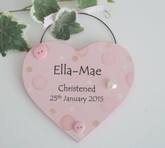 Pink Dotty Christening Heart Wooden Plaque
