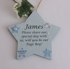 Will you be my/our Page Boy? wooden plaque