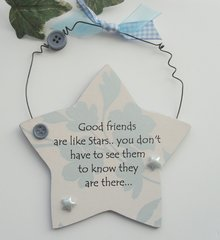 Good friends are like stars, Star shape in blue