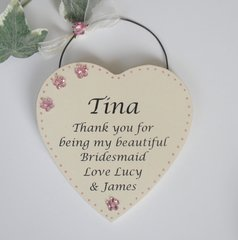 Thank you Bridesmaid Personalised Wooden Gift Plaque