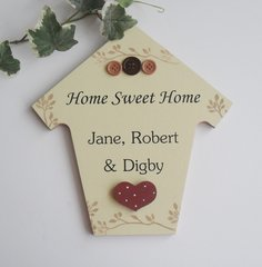 Large shaped New Home personalised wooden plaque