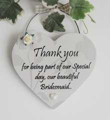 Thank you Bridesmaid Wooden Gift Plaque