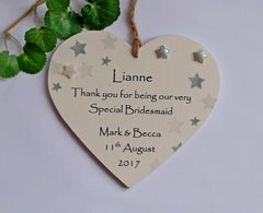 Thank You Bridesmaid Personalised Keepsake Wedding Wooden Plaque