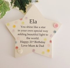 Personalised 21st Birthday Gift Wooden star plaque …