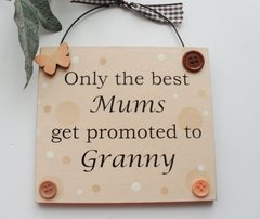 Only the best Mums get promoted to Granny peach wooden gift plaque