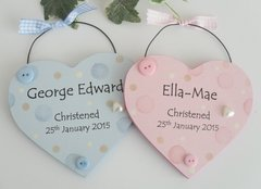 Twin Pink and Blue Dotty Christening Heart Wooden Plaque