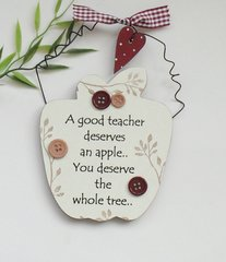 Teacher Apple  wooden Gift Plaque