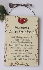Recipe for a Good Friendship wooden gift plaque