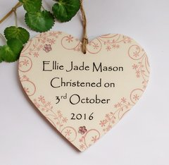 Personalised Christening Day Keepsake Wooden Plaque Gift Heart Pink