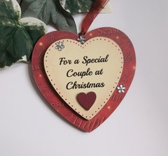For a Special Couple at Christmas Wooden Double Heart Keepsake