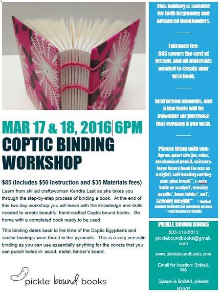Coptic Binding Workshop March 17 & 18, 2016