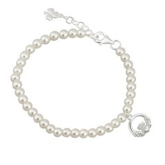 Bracelet - Child's - Synthetic Pearls with SP Claddagh - Solvar #S5720