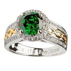 Ring - Celtic - Green CZ - Shanore SL100GRCZ