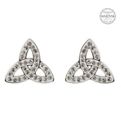 Earrings - Trinity Studs - Adorned with White Swarovski Crystals - Shanore #SW42