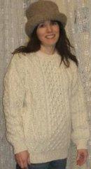 Sweater - Fisherman Knit - Wool - Crew Neck - Men's or Ladies - Natural White