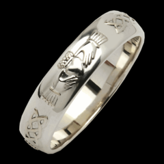 Ring - Wedding - Claddagh Celtic Band - 14ct White Gold - Size 9 1/2 - Fado #R327