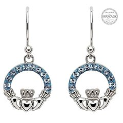 Earrings - Claddagh Drop - Light Sapphire Swarovski Csystals - Sterling - Shanore SW5