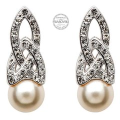 Earrings - Stud - Trinity - White Swarovski Crystals & Pearl - Sterling - Shanore SW25