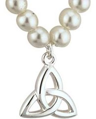Necklace - Trinity with Synthetic Pearls - Child Size - Silver Plated - Solvar S45073