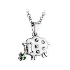 Necklace - Sheep with Shamrock - Rhodium - Solvar #S44430
