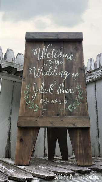 rustic welcome to the wedding sign    sandwich board style