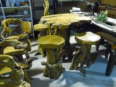 Table & 4 Stool Bar Set - Teak Wood