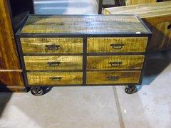 Wood & Metal Cart with Metal Wheels
