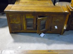 Glass Door Sideboard or Buffet Cabinet - Mango Wood