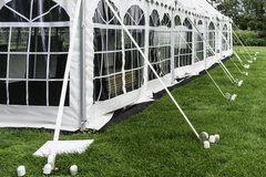 30' x 9' Cathedral-Window Tent Sidewall (Premium Commercial Quality White 13 Oz. w/ blockout & 20 Gauge Clear Windows ) - Free Shipping to Select Locations