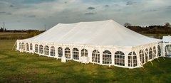 30' x 10' Cathedral-Window Tent Sidewall (Premium Commercial Quality White 13 Oz. w/ blockout & 20 Gauge Clear Windows ) - Free Shipping To Select Locations