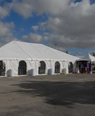15' x 9' Cathedral-Window Tent Sidewall (Premium Commercial Quality White 13 Oz. w/ blockout & 20 Gauge Clear Windows ) - Free Shipping to Select Locations