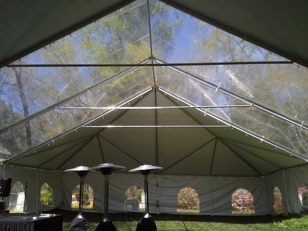30' x 7' or 8' Cathedral-Window Tent Sidewall (Premium Commercial Quality White 13 Oz. w/ blockout & 20 Gauge Clear Windows ) - Free Shipping to Select Locations