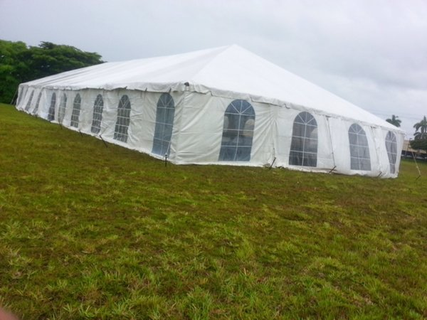 20' x 10' Cathedral-Window Tent Sidewall (Premium Commercial Quality White 13 Oz. w/ blockout & 20 Gauge Clear Windows ) - Free Shipping to Select Locations