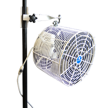12 inch Versa-Kool Pole-Mounted Tent Fan for Single-Tube Frames (Model VK12TF-SPM-W) with standard pole mount - Free Shipping Available - Click on Picture