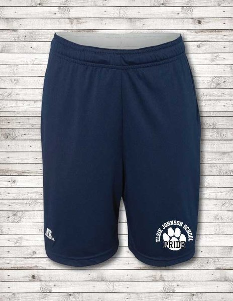 Youth Russell tech shorts with EJ Pride logo
