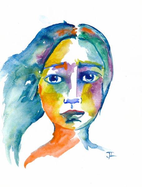 """Watercolor 9x12"""" Girl Original Painting"""