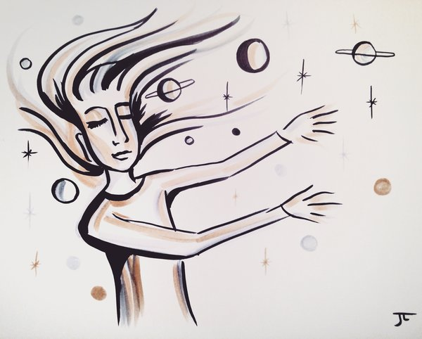 "Cosmic sensation 9x12"" ink on paper"