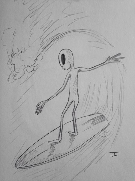 "Alien surfer 9x6"" graphite drawing"