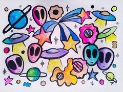 "11x15"" Alien Graffix India ink and watercolor"