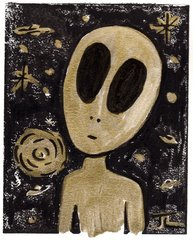 Alien Linocut and Watercolor Golden Universe 5 x 7""