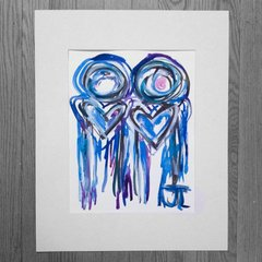 "SOLD 11x15"" Heart People Original Watercolor"